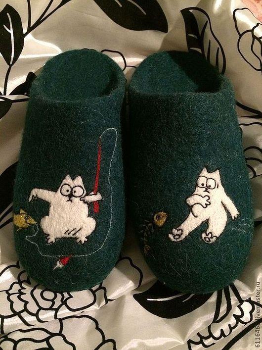 Обувь ручной работы. Ярмарка Мастеров - ручная работа. Купить домашние валяные тапочки-шлепки из натуральной шерсти Кот Саймона -2. Handmade.