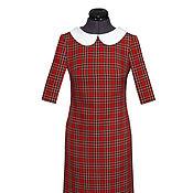 Одежда ручной работы. Ярмарка Мастеров - ручная работа Платье в клетку с воротничком Оксфорд. Handmade.