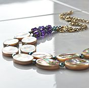 Украшения handmade. Livemaster - original item PARTY necklace mother of pearl and quartz. Handmade.