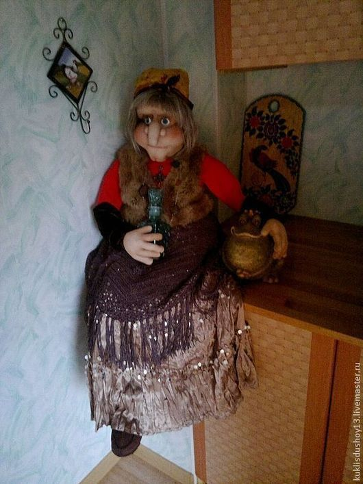 Сказочные персонажи ручной работы. Ярмарка Мастеров - ручная работа. Купить Текстильная интерьерная кукла Баба Яга Глафира. Handmade.