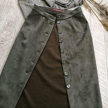 Одежда ручной работы. Ярмарка Мастеров - ручная работа Юбка из замши Хаки. Handmade.