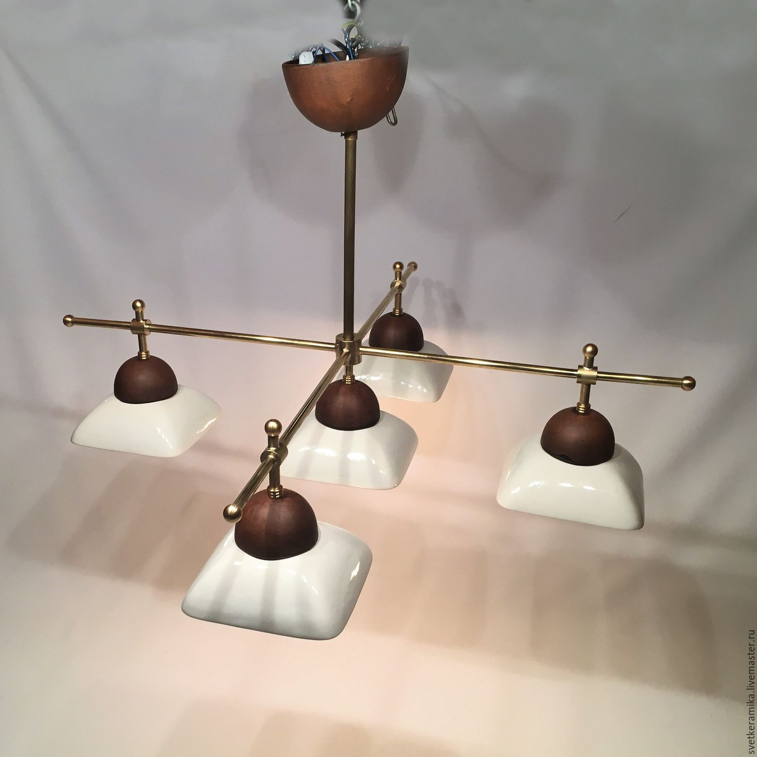 Ceramic chandelier with five shades and brass frame shop online on lamps handmade livemaster handmade buy ceramic chandelier with five shades and brass frame aloadofball Gallery