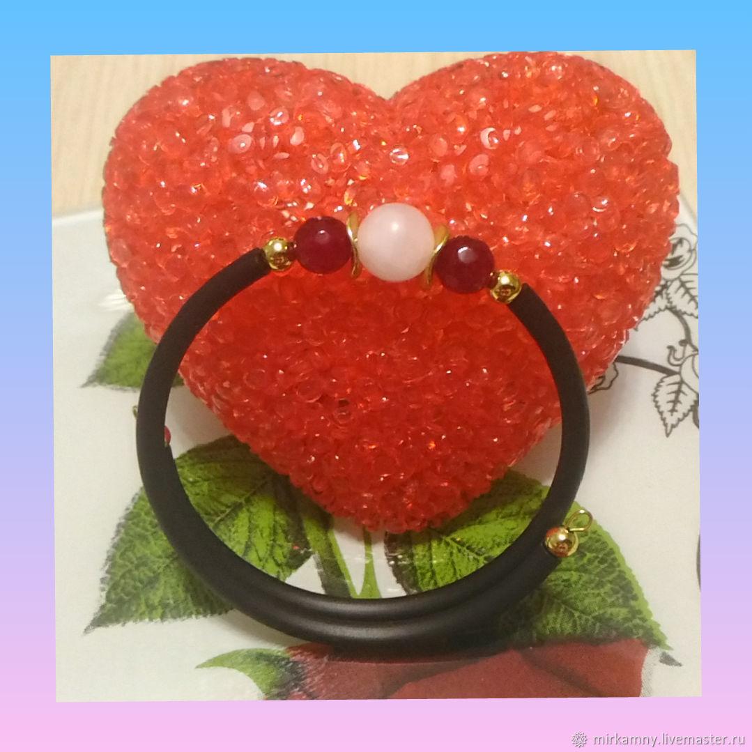 Rubber bracelet with rose quartz and chalcedony, Hard bracelet, Sasovo,  Фото №1