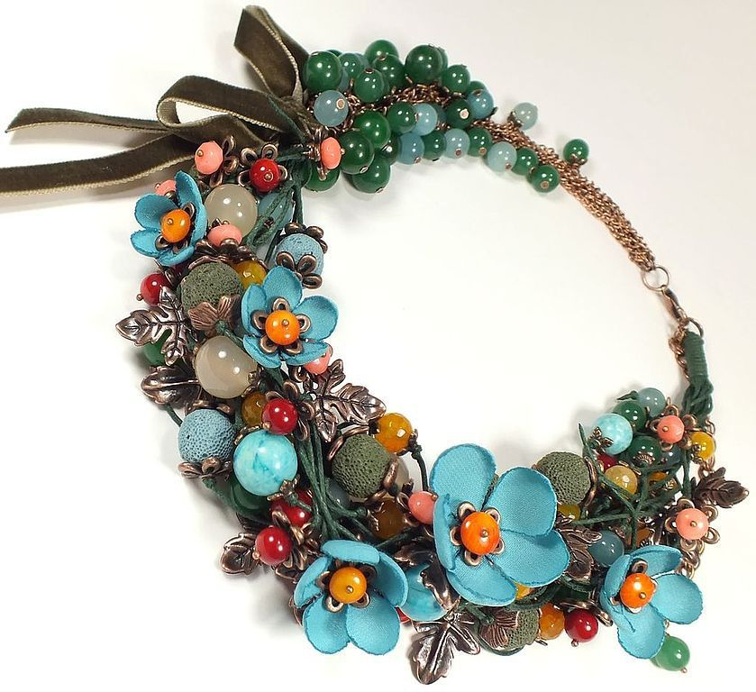 Necklaces & Beads handmade. Livemaster - handmade. Buy Fairy Early Forget-Me-Nots. Necklaces, fabric flowers.Blue
