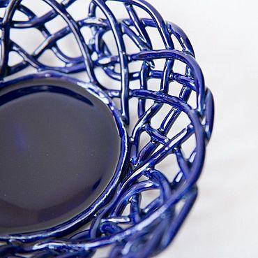 Посуда ручной работы. Ярмарка Мастеров - ручная работа Фруктовница Синий Ажур. Handmade.