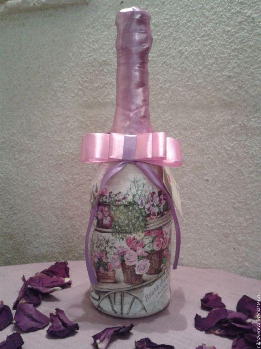 Подарочное оформление бутылок ручной работы. Ярмарка Мастеров - ручная работа. Купить Декупаж  бутылок,подарочное оформление бутылок. Handmade.