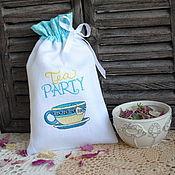 """Для дома и интерьера ручной работы. Ярмарка Мастеров - ручная работа Мешочек """"Чайный"""" с вышивкой для чая заварки трав. Handmade."""