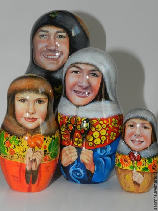 Портретные куклы ручной работы. Ярмарка Мастеров - ручная работа. Купить матрёшка с портретом. Handmade. Ярко-красный, портрет в подарок