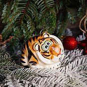 Сувениры и подарки handmade. Livemaster - original item Tiger-symbol of the year 2022 Toy for the Christmas tree. Handmade.