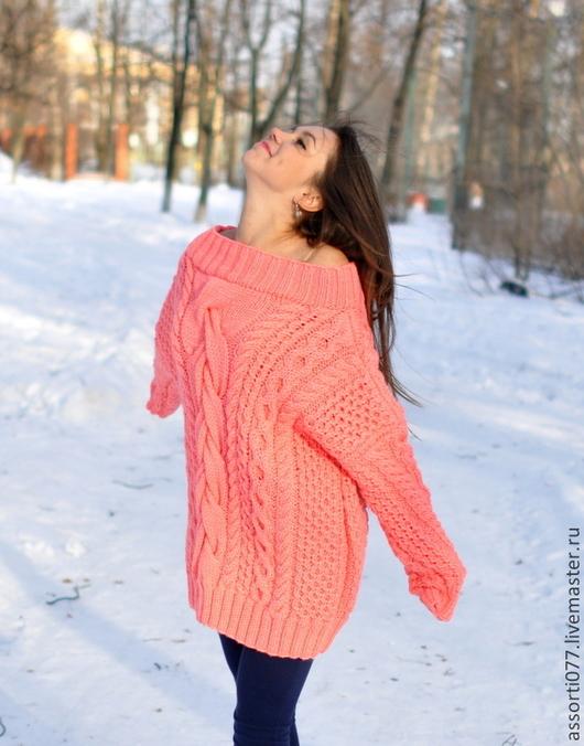 """Кофты и свитера ручной работы. Ярмарка Мастеров - ручная работа. Купить женский свитер """"Персик"""". Handmade. Коралловый, свитер"""