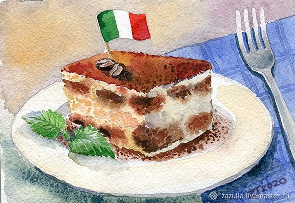 Watercolor ' Italian dessert-tiramisu', Pictures, Penza,  Фото №1