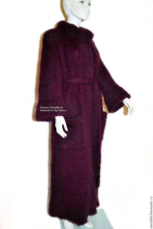 Пальто. Вязание на заказ. Пальто вязанное спицами. Пальто женское. Пальто бордовое. Пальто длинное. Пальто на поясе. Пальто бохо. Пальто большой размер. Oversize. Пальто с карманами. Кардиган длинный.