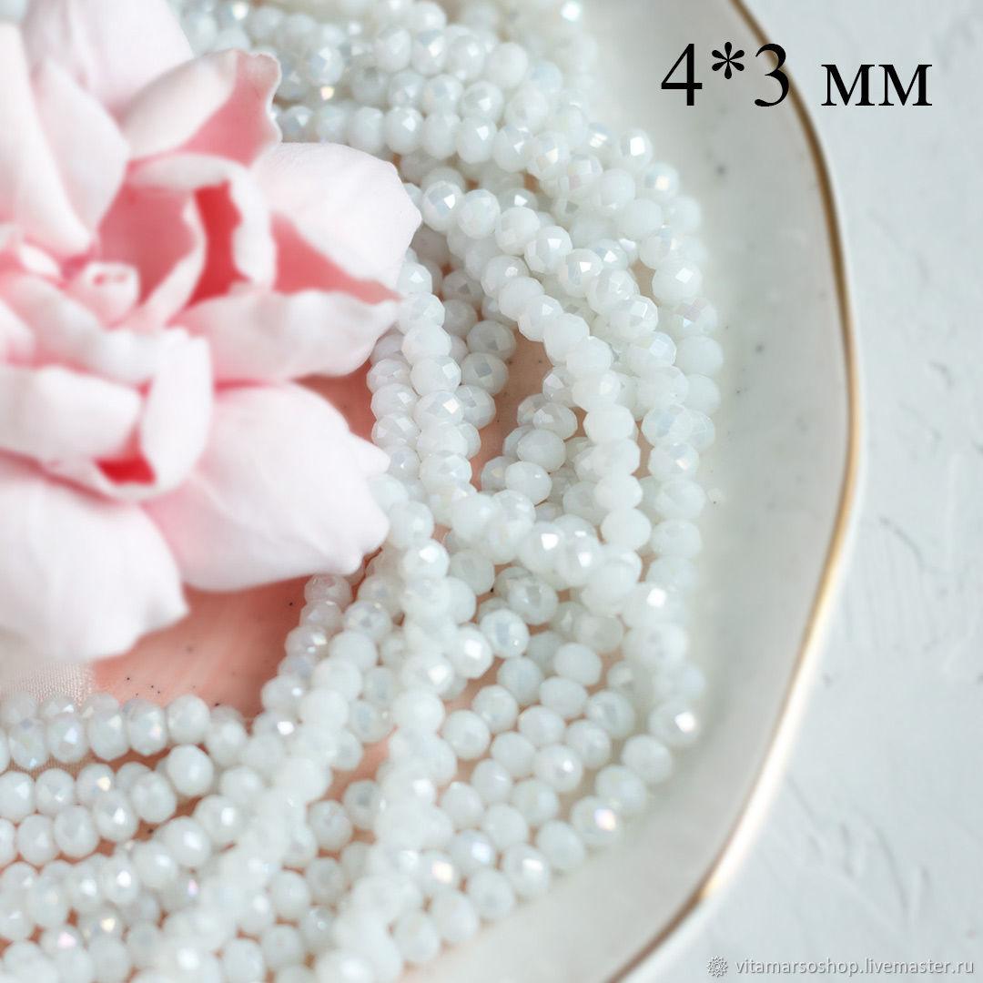 Хрустальные бусины Рондель белые АВ 4х3 мм, Бусины, Москва, Фото №1
