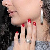 Украшения handmade. Livemaster - original item Minima Series Feather Ring and earrings in brushed silver. Handmade.