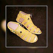 Обувь ручной работы handmade. Livemaster - original item Knitted sandals. knitted footwear to order. Color yellow.. Handmade.