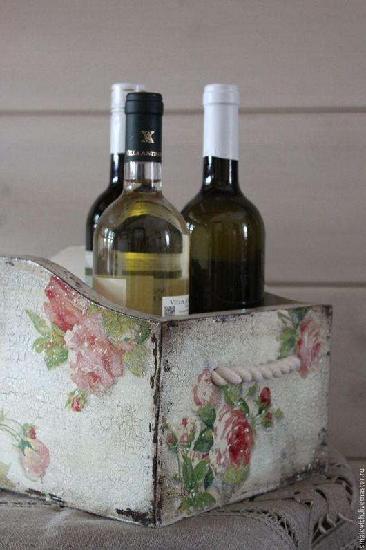 """Корзины, коробы ручной работы. Ярмарка Мастеров - ручная работа. Купить Ящик, короб""""Розы"""". Handmade. Белый, кантри, контейнер для мелочей"""