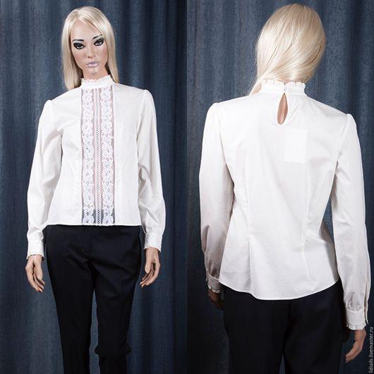 Блузки ручной работы. Ярмарка Мастеров - ручная работа. Купить Белая рубашка с кружевом. Handmade. Бежевый, жемчужный, айвори