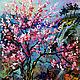 """Пейзаж ручной работы. Ярмарка Мастеров - ручная работа. Купить Картина """"Сакура на Озере Mae Kuang"""" - картина с сакурой. Handmade."""