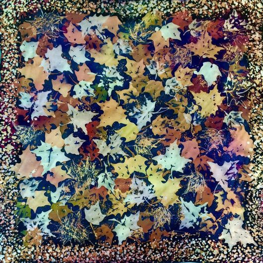 Шарфы и шарфики ручной работы. Ярмарка Мастеров - ручная работа. Купить платок кленовые листья. Handmade. Батик платок, листопад