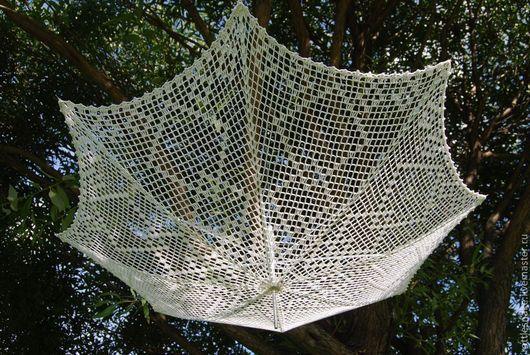Зонт-трость вязаный `Воздушная геометрия` зонт вязаный зонт-трость зонтик ажурный летний аксессуар свадебный