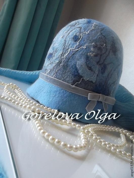 """Шляпы ручной работы. Ярмарка Мастеров - ручная работа. Купить Шляпка-клош """"В голубом....."""". Handmade. Головной убор"""