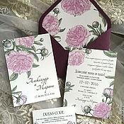 """Приглашения ручной работы. Ярмарка Мастеров - ручная работа Приглашение на свадьбу """"Розовый пион"""". Handmade."""