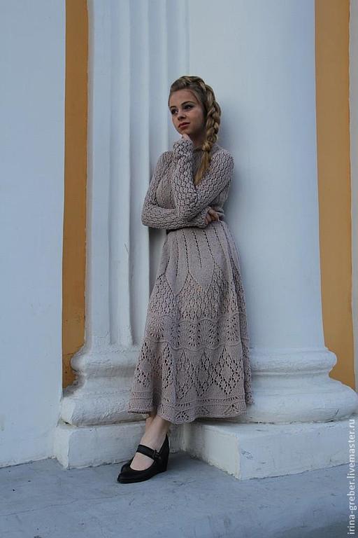 """Платья ручной работы. Ярмарка Мастеров - ручная работа. Купить Платье вязаное """"Мечтательница"""". Handmade. Бежевый, длинное платье"""
