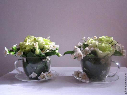 Интерьерные композиции ручной работы. Ярмарка Мастеров - ручная работа. Купить Чайное действо..... Handmade. Белый, розы, полимерная глина