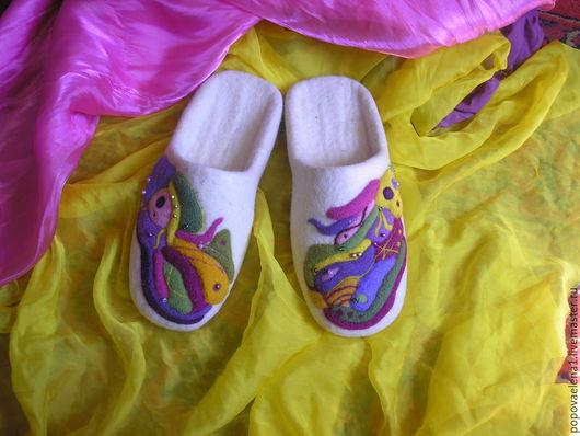 """Обувь ручной работы. Ярмарка Мастеров - ручная работа. Купить Тапочки валяные """" Конфетти"""". Handmade. Белый"""