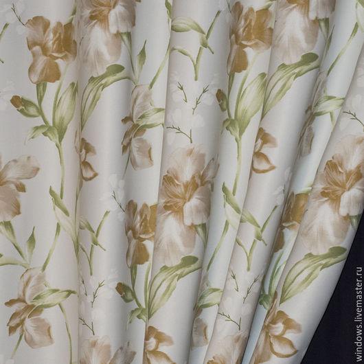 Текстиль, ковры ручной работы. Ярмарка Мастеров - ручная работа. Купить шторы блэкаут ирис акварелью. Handmade. Спальня