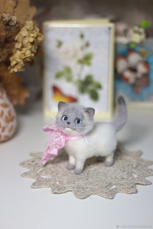 Сиамский котик. Игрушка из шерсти, Войлочная игрушка, Правдинск,  Фото №1