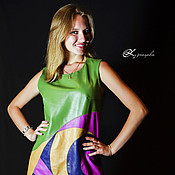 Одежда handmade. Livemaster - original item Leather dress Sandy. Dress genuine leather. Handmade.