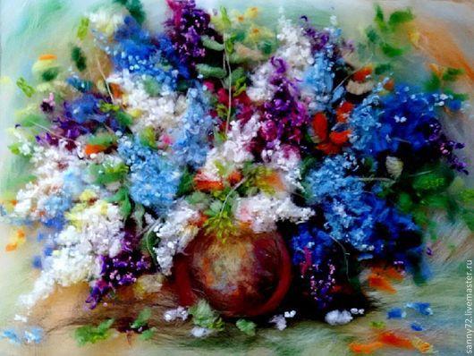 Картины цветов ручной работы. Ярмарка Мастеров - ручная работа. Купить Сиреневое счастье. Handmade. Разноцветный, букет сирени