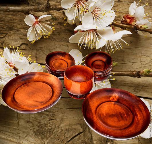 Кухня ручной работы. Ярмарка Мастеров - ручная работа. Купить Набор деревянной посуды из натурального сибирского Кедра Тарелки N6. Handmade.