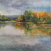 Картины и панно ручной работы. Ярмарка Мастеров - ручная работа Картина акварелью Речной пейзаж 40х30 см. Handmade.