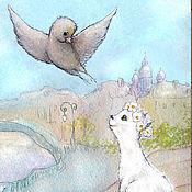 Для дома и интерьера handmade. Livemaster - original item Sparrow and the Cat Spring print 15h20cm. Handmade.