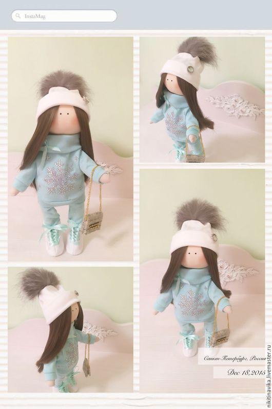 """Куклы тыквоголовки ручной работы. Ярмарка Мастеров - ручная работа. Купить Куколка """"Бирюзовая снежинка"""". Handmade. Кукла ручной работы"""