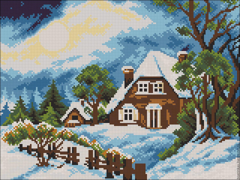 схема вышивки зима домик