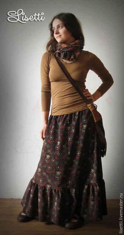 Юбки ручной работы. Ярмарка Мастеров - ручная работа. Купить Юбка из микровельвета Осенние цветы. Handmade. Коричневый, длинная юбка