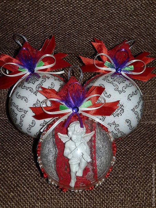 """Новый год 2017 ручной работы. Ярмарка Мастеров - ручная работа. Купить """"Мулен Руж"""" набор елочных шаров. Handmade."""