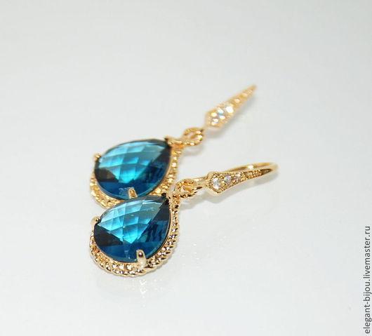 Серьги позолоченные  `Капля синего моря`