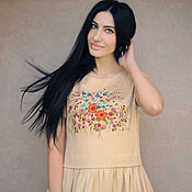 Одежда handmade. Livemaster - original item Long sundress with embroidery