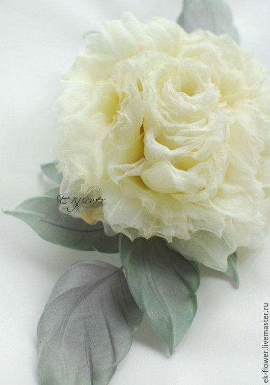"""Цветы ручной работы. Ярмарка Мастеров - ручная работа. Купить Цветы из шелка. Цветок-брошь Роза """"Кружево"""". Handmade."""