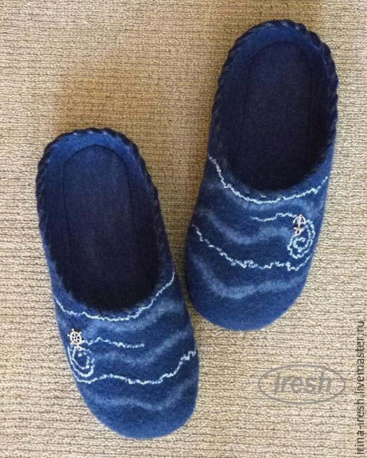 """Обувь ручной работы. Ярмарка Мастеров - ручная работа. Купить Валяные тапки """"Морские"""" мужские синие. Handmade. Тёмно-синий"""