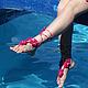 Эффектный аксессуар,вязаные украшения на ножки. Босые сандалии.