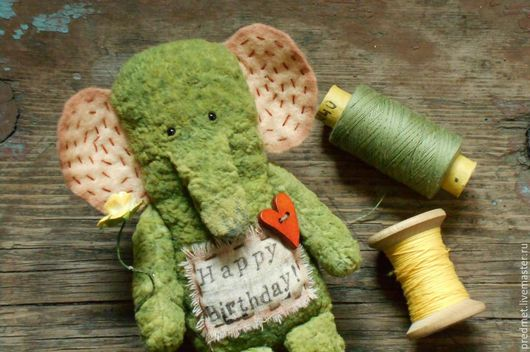 Игрушки животные, ручной работы. Ярмарка Мастеров - ручная работа. Купить Сюрприз. Handmade. Оливковый, зеленый слон, плюш винтажный