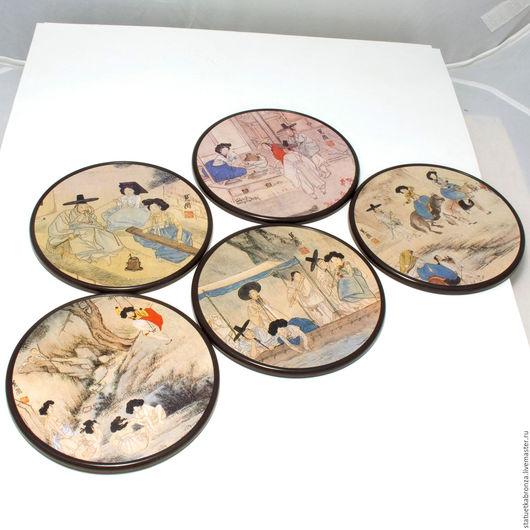 Винтажная посуда. Ярмарка Мастеров - ручная работа. Купить Костеры корейские сюжеты. Handmade. Бежевый, корея, этнический, лак