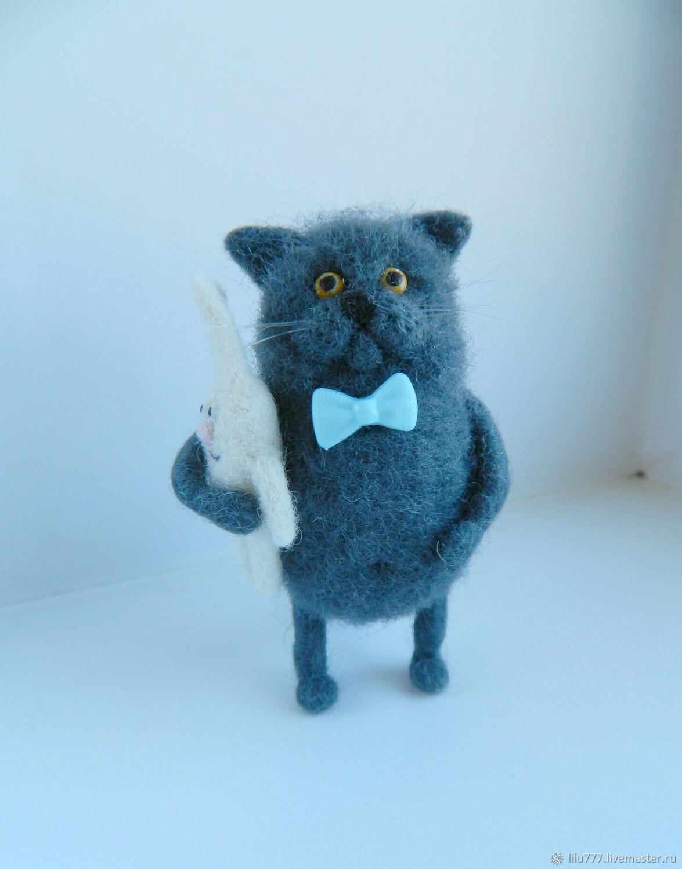 British blue - felted cat, Felted Toy, Ufa,  Фото №1