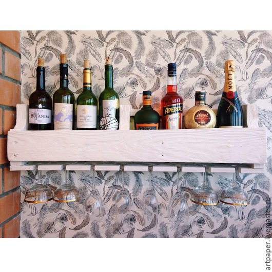 Мебель ручной работы. Ярмарка Мастеров - ручная работа. Купить Полка для вина из паллет. Handmade. Белый, полка, полка из дерева