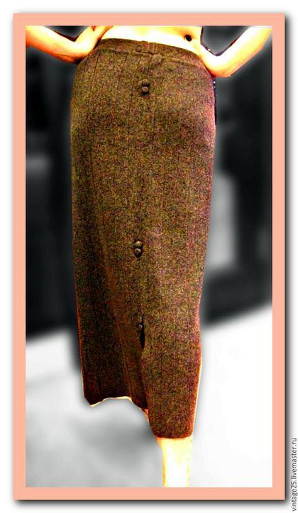 Одежда. Ярмарка Мастеров - ручная работа. Купить Винтажная узкая длинная юбка. Handmade. Серый, вязанная юбка, узкая юбка